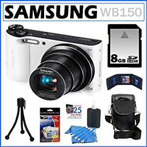 Samsung WB150 14.2MP WI-Fi Digital Camera with 18x Optical Zoom and 3-inch LCD in White + 8GB Memory Card + Camera Case + Accessory Kit