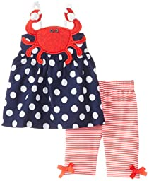Mud Pie Baby-Girls Newborn Crab Tunic and Legging, Blue/Red, 9-12 Months
