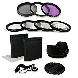 58mm Accessory Kit for Canon EOS 1DX | 5D Mark II + III | 5D | 6D | 7D | 10D | 30D | 40D | 50D | 60D | 70D | 100D | 1000D | 1100D | 1200D | 300D | 350D | 400D | 450D | 500D | 550D | 600D | 650D | 700D - Nikon Df - Panasonic Lumix DMC-GH4 - Samsung Galaxy NX | NX10 | NX11 | NX20 | NX200 | NX210 | NX30 | NX300 - Fuji XA1 | XE1 | XE2 | XM1 | XT1 - Olympus E420 | E450 | E520 | E620 incl. Filter Kit UV, CPL, FLD + Close up Macro +1 +2 +4 +10 + Microfiber Cleaning Cloth + Tulip Lens Hood + Lens Cap