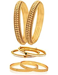 Jewels Galaxy Combo Of Broad Designer Pearls Bangles And Gold Plated Bangles - Pack Of 6