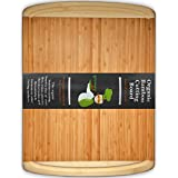 ORGANIC Bamboo Cutting Board - Natural Wood Serving Tray With Drip Groove - Extra Large 18 X 12.5 Inch - By Greener...