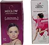 Meglow Fairness Cream, 50 Gms And Hair Removal Cream, 60 Gms