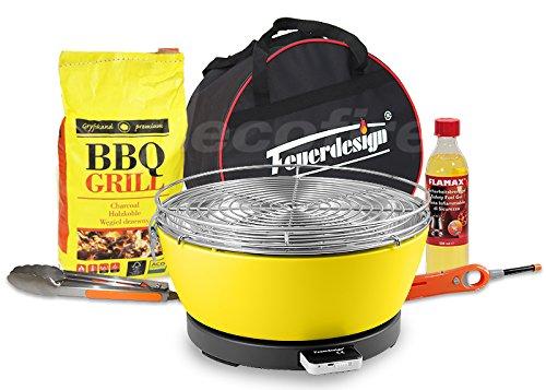 Rauchfreier Holzkohle Tischgrill VESUVIO v. Feuerdesign – Gelb, im Super Pack mit viel Grill-Zubehör online kaufen