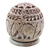 Store Indya Delicately Handcrafted Soapstone Globe Tea light Candle Holder with Elephant Design, & Gift Idea