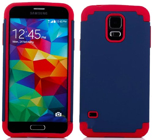 Mylife (Tm) Navy Blue And Red - Free Flex Series (2 Layer Neo Hybrid) Slim Armor Case For The New Galaxy S5 (5G) Smartphone By Samsung (External Rubberized Hard Shell Flex Piece + Internal Soft Silicone Flexible Bumper Gel + Lifetime Warranty + Sealed In