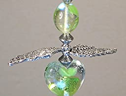 Light Green Artisan Glass Heart with Silvery Angel Wings Ceiling Fan Pull Chain
