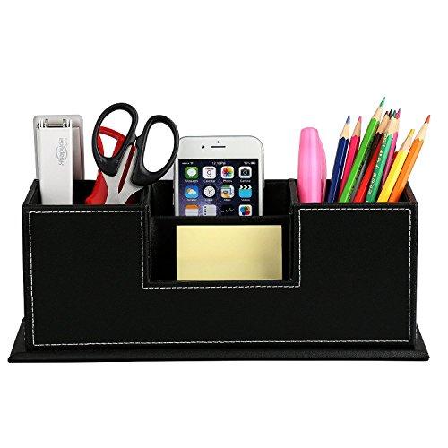 Hometek Desktop Storage Box in Pelle PU,Organizzatore Scrivania Multifunzionale 4 slot per Carta / Penna / Matita / Cellulare / Telecomando ecc