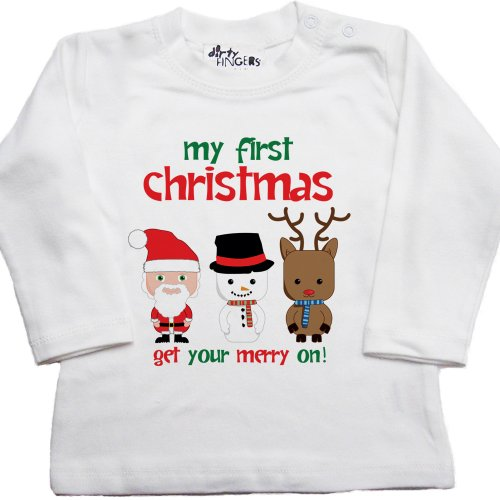 Dirty Fingers, My First Christmas, Get Your Merry On!, Baby Long Sleeve T-Shirt, 6-12 Mths, White