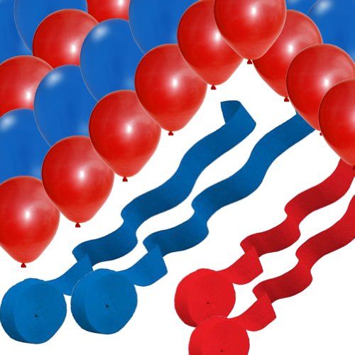 2 Red 2 Blue Rolls Streamers and 24 Balloons Decorating Kit - 1