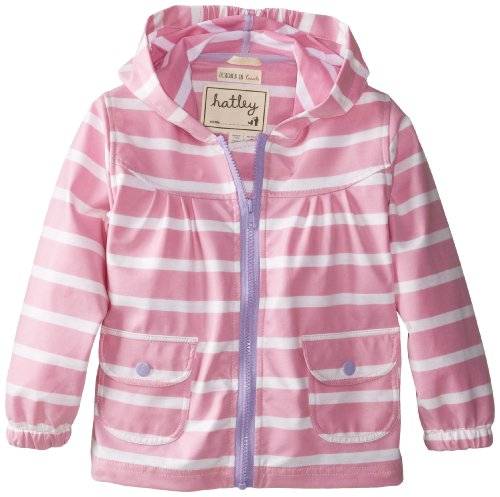 Hatley Big Girls' Unlined Raincoat Stripes, Pink, 8 back-943993