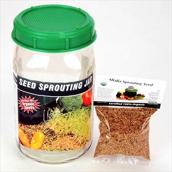 One Quart Glass Sprouter Jar w/ Sprouting Strainer Lid: Grow Sprouts: Includes 2 Oz. Organic Sprout Seeds & Sprouting Instructions (1 2 Ounce Mason Jars compare prices)