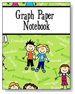 Graph Paper Notebook For Boys - Written in several languages, the word Friendship provides the background for the cute boys on the cover of this graph paper notebook for younger kids.
