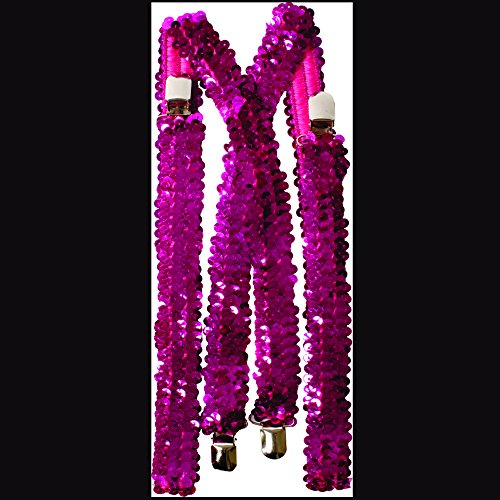 Hot Pink Sequined Suspenders