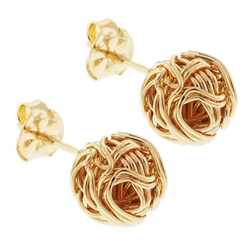 9mm Special Gold Tone Weave Push Back Stud Earrings B/New