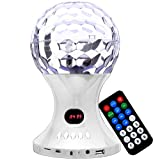 Wayzon White Portable LED Crystal Magic Digital Ball Disco Dance Stereo Chargable Speaker Arresting Bass Effect FM Radio With AUX cable Lead And Micro SD Card Slot For Nokia N96 / N97 / mini / Oro / RM-835