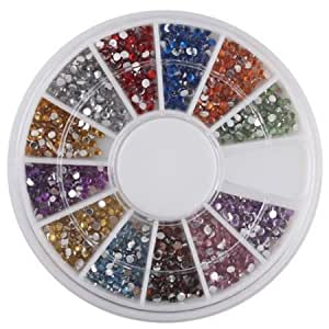 niceeshop(TM) Rhinestones Nail Art Gems Mixed Colours Shapes in Case (1.5mm,1800pcs)