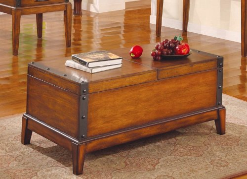 Coffee Table with Nail Studded Metal Trim Rich Honey Finish