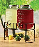 Circleware Yorkshire Mason Jar Double Glass Beverage Drink Dispenser with Decorative Metal Stand and Metal Lids, 1 Gallon Each