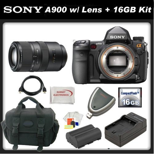 Sony Alpha DSLR-A900 SLR Digital Camera with Sony SAL-70300G 70-300mm f/4.5-5.6G SSM Autofocus Lens &#038; SSE Essential Kit. Includes: 16GB Compact Flash Memory Card, Replacement NP-FM500H Battery, Travel Charger, Deluxe Carrying Case and more...