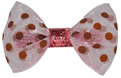 Bow Allure Boca Raton No Slip Hair Bow For Toddlers And Girls, Organza, Sparkly Pink, Brown