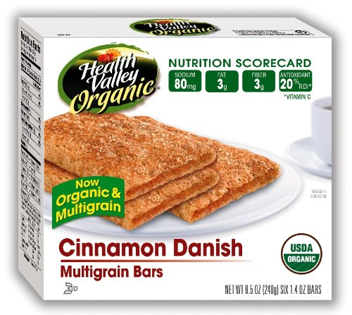 Health Valley Cafe Creations, Cinnamon Danish Bar, 6-Count 8.5-Ounce Boxes (Pack of 6)