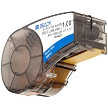 "Brady M21-1000-427 14' Length, 1"" Width, B-427 Self-Laminating Vinyl, Black On White/Translucent Color BMP 21 Mobile Printer Label"