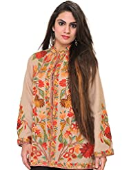 Exotic India Gray-Morn Kashmiri Jacket With Ari Embroidered Flowers By Ha - Grey