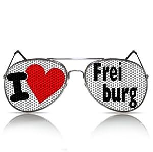 Partybrillen und Promotionbrillen Reiseandenken beklebte Brille Atzenbrille - I love Freiburg