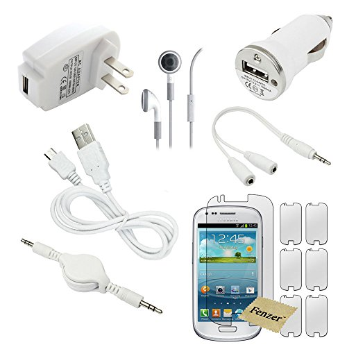12 Pc Fenzer White Bundle Kit For Samsung Galaxy S4 S 4 Mini Wall Car Data Charging Cable Screen Protector