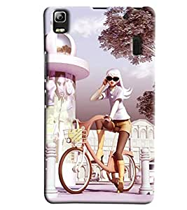 Clarks Girl On Bicycle Hard Plastic Printed Back Cover/Case For Lenovo A7000