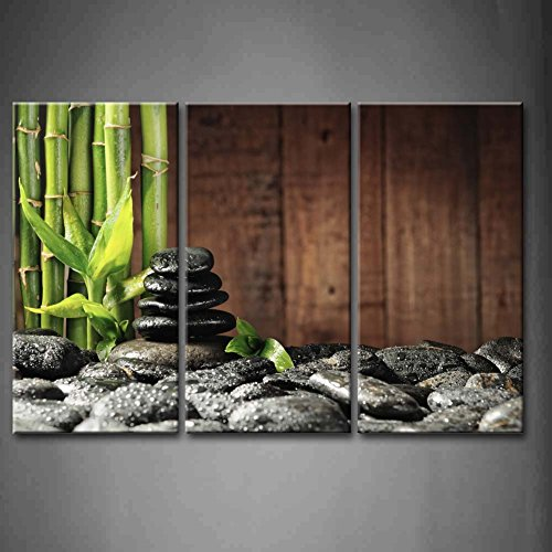 3 Panel Wall Art Green Spa Concept Bamboo Grove And Black