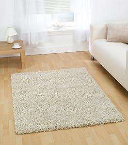 "Quality Shaggy Rug in Ivory 60 x 110 cm (2' x 3'7"") Carpet"