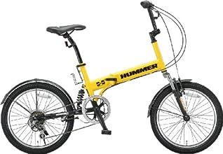 HUMMER(ハマー) 20インチシマノ6段変速折りたたみ自転車 [Wサスペンション/前後フェンダー/Vブレーキ/ボトルゲージ/リフレクター標準装備] イエロー HUMMER FDB206 W-sus