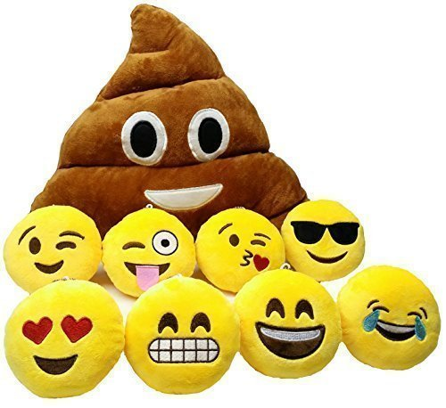 Funny and Comfortable Poop Emoji Plush with Mini Emoji Emoticon Pillow - Great Pillow Gift Bundle