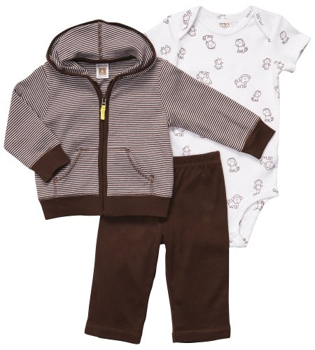 Brown and White Monkey 3 Pc Boys Cardigan Set by Carters   3 months