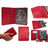 AMAZON KINDLE 4 4TH GENERATION (RED) EXECUTIVE LEATHER CASE COVER BOOK WALLET (2011 Latest Kindle Generation, £89, Wi-Fi, 6