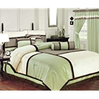 Chezmoi Collection 7 Pieces Solid 3 Tone Sage Beige With Brown Comforter Set Bed-in-a-bag California-cal King...