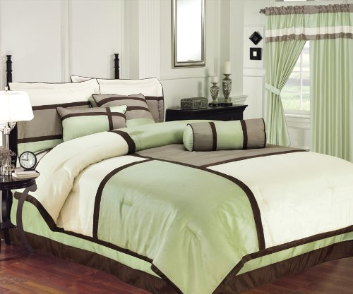 Chezmoi Collection 7 Pieces Solid 3 Tone Sage, Beige, with Brown Comforter (90