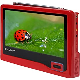 Eviant T7-02 7-Inch Handheld LCD TV, Red
