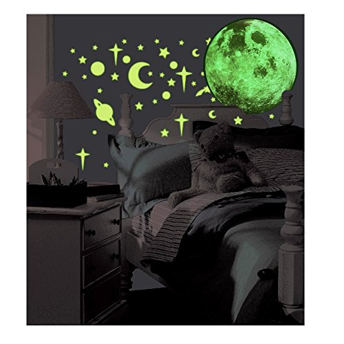 Giant Size Super Glow in the Dark Moon Wall Sticker - 16 inches (41 cm)
