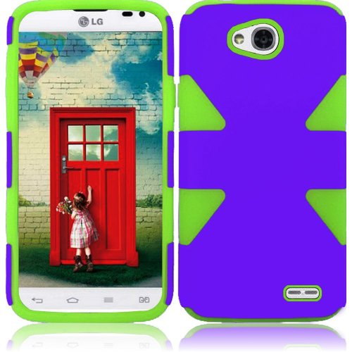 Cell Accessories For Less (Tm) For Lg L70 Vs450 Optimus Exceed 2 Realm Ls620 Dynamic Slim Hybrid Cover Case - Purple+Neon Green - By Thetargetbuys *Free Shipping*