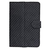 Brain Freezer G2 Silver Dotted Flip Flap Case Pouch Stand For HCL ME V1 Tab 7-inch Tablet (Black)