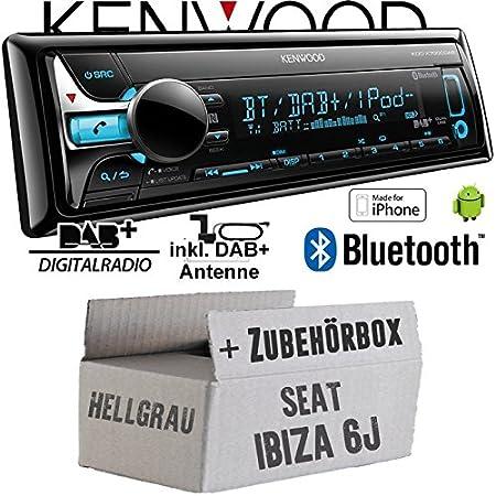 Seat Ibiza 6J Hellgrau - Kenwood KDC-X7000DAB - Bluetooth | CD | MP3 | USB | DAB+ Digitalradio Autoradio inkl. DAB Antenne - Einbauset
