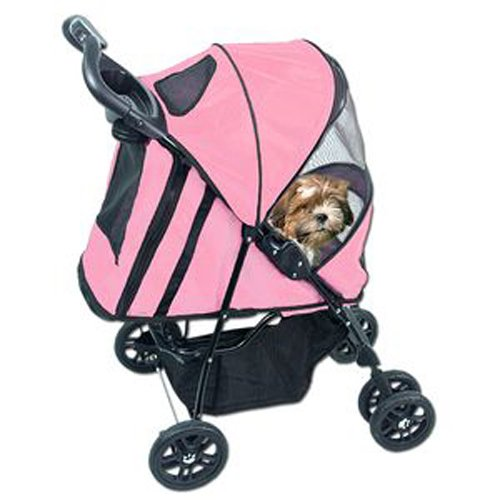 Pet Gear Happy Trails Pet Stroller for cats and dogs up to 30-pounds, Pink Ice