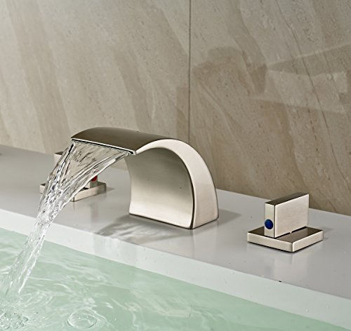 Rozin Waterfall Spout Bathroom Sink Faucet brass 3 Holes Widespread Basin Mixer Tap Brushed Nickel (Bathroom Waterfall Faucet 3 Hole compare prices)