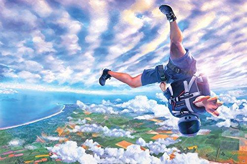 Caduta libera free fall skydive paracadutista quadro da parete fotomurale by GREAT ART XXL poster decorazione da parete 140 cm x 100 cm
