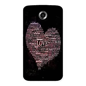 Ajay Enterprises Heart Of Text Back Case Cover for Nexsus 6