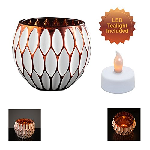 Glass Teardrop Design Bowl Tea Light Holder - Decorative Lighting Accent for LED and Traditional Candles (Flameless Candle Included) (Pedestal Glass Orb compare prices)