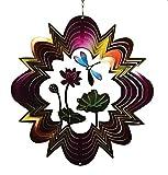 12 Inch Dragonfly On Flower Design 3 D Zephyr Spiral Wind Spinner