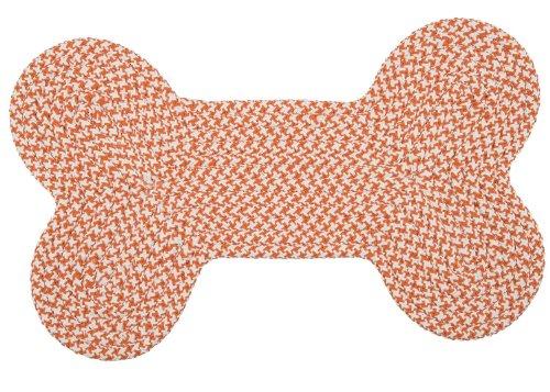 Braided Dog Bone Area Rug 14in. x 26in. Orange Easy Clean Doggy Carpet